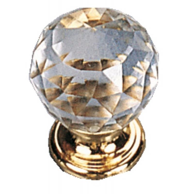 Boutons ronds cristal transparent - embase laiton massif   Legallais