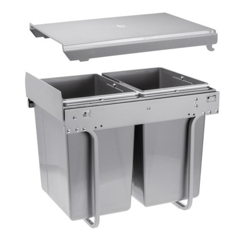 poubelle 2 bacs – 2 x 20 litres - pour caisson de 400 mm - fixation